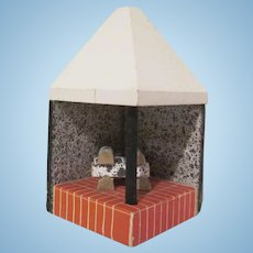 "Lundby Large 3/4"" Corner Fireplace with Bricks Dollhouse Furniture 1970s"