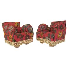 """Pair of Lundby Larger 3/4"""" Upholstered Cotton Floral Print Club Chairs Dollhouse Furniture 1970s"""