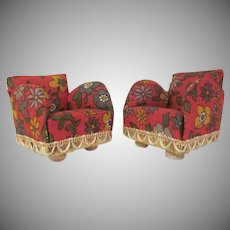 "Pair of Lundby Larger 3/4"" Upholstered Cotton Floral Print Club Chairs Dollhouse Furniture 1970s"