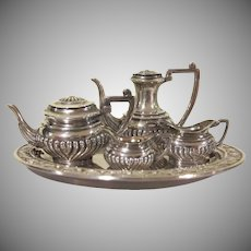 Sterling 1947 Birmingham Barker Bros., Ltd. Miniature 6 Piece Coffee and Tea Set Dollhouse Accessory