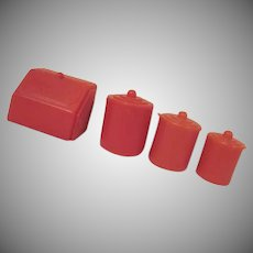 "Marx 3/4"" Plastic Bread Box and 3 Piece Canister Set in Red Dollhouse Accessory"