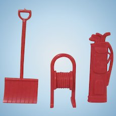 "Marx 3/4"" Hard Plastic Snow Shovel, Hose Reel, and Golf Bag Dollhouse Accessories"