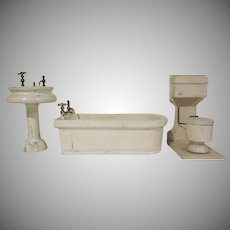 """Wooden Made in Germany Large 1"""" Bathroom 3 Piece Dollhouse Furniture"""