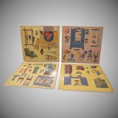 Wonderful Cardstock 1930s 4 Uncut Sheets of Dollhouse Furniture Made in Japan