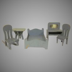 "Early 1"" Wooden Dollhouse Furniture Bedroom 5 Pieces Home Made"