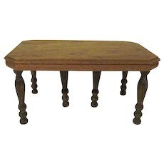 """Strombecker 1"""" Walnut 1938 Dining Room Table with 6 Legs Dollhouse Furniture"""