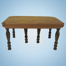"Strombecker 1"" Walnut 1938 Dining Room Table with 6 Legs Dollhouse Furniture"