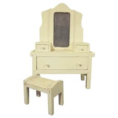 """Strombecker 1"""" 1931 Vanity with 3/4"""" Bench Dollhouse Furniture"""