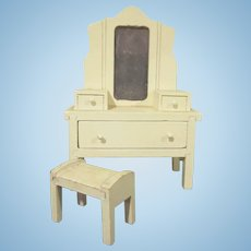 "Strombecker 1"" 1931 Vanity with 3/4"" Bench Dollhouse Furniture"