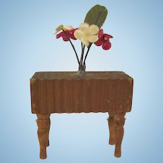 "Kage 3/4"" Planter with Turned Legs and Cloth Flowers Dollhouse Miniature Furniture"