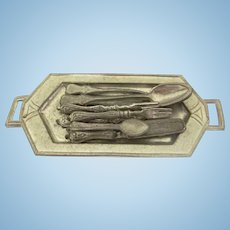 Vintage Soft Metal Art Deco Tray with Utensils Dollhouse Miniature Accessories