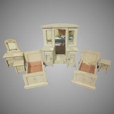 "Vintage Home Made Large 1"" Six Piece Bedroom  Set Dollhouse Furniture"