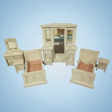 "Vintage Home Made Large 1"" Six Piece Bedroom  Set Dollhouse Furniture"