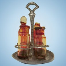 """Vintage Made in Germany 1"""" Soft Metal 5 Piece Condiment Set with Glass Inserts Dollhouse Accessory"""