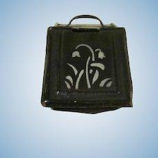 "Vintage Tin Plate 1"" Coal Hod Scuttle Dollhouse Accessory"