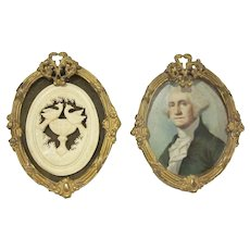 Vintage Miniature Pair of Ormolu Oval Frames Dollhouse Accessories