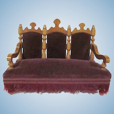 "Early Schneegas 1"" Triple Back Settee Sofa Dollhouse Furniture"