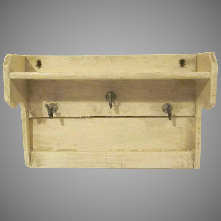 Early Wooden Large 1 Scale Kitchen Shelf with Hooks Dollhouse Accessory