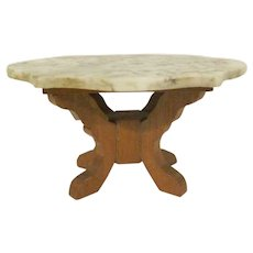 """Early Schneegas 1"""" Marble Turtle Back Center Table with Oak Legs Dollhouse Furniture"""