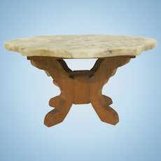 "Early Schneegas 1"" Marble Turtle Back Center Table with Oak Legs Dollhouse Furniture"