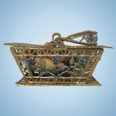 "Vintage 1"" Soft Metal Picnic Basket with Flowers and Sewing Items Dollhouse Accessory"