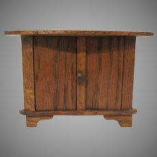 "Vintage 1"" Shorter Wooden Corner Cabinet Dollhouse Furniture"