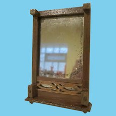 "Vintage Wooden 1"" Dollhouse Mirror With Two Feet to Rest on Dresser"