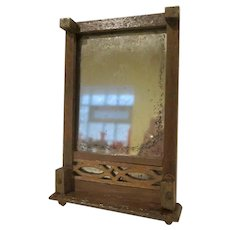 """Vintage Wooden 1"""" Dollhouse Mirror With Two Feet to Rest on Dresser"""