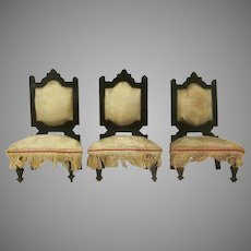 "Early 1"" Set of 3 Ebony Wooden Chairs with Silk Seats and Backs Dollhouse Furniture"