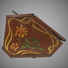 "Early 1"" Tin Litho Coal Hod Floral Design Dollhouse Accessory"