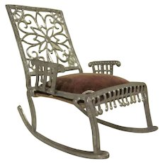 """Early 1"""" Adrian Cooke Soft Metal Rocking Chair with Velvet Seat Dollhouse Furniture"""