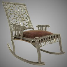 "Early 1"" Adrian Cooke Soft Metal Rocking Chair with Velvet Seat Dollhouse Furniture"