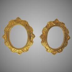 Vintage Pair of Ornate Gilt Oval Frame Pieces Perfect for a Dollhouse Accessory