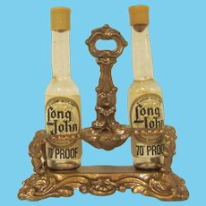 "Vintage Soft Metal Gilt 1"" Bottle Carrier with Two Bottles Dollhouse Accessory"