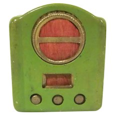 "Vintage 1"" Made in Japan Tin Table Top Radio Pencil Sharpener Perfect for a Dollhouse Accessory"