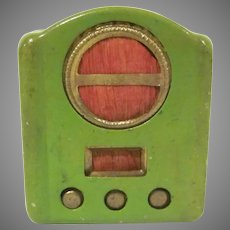 """Vintage 1"""" Made in Japan Tin Table Top Radio Pencil Sharpener Perfect for a Dollhouse Accessory"""