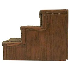 """Vintage 1"""" Walnut Stained Wooden and Corduroy Bed Steps for a Dollhouse Bed Dollhouse Accessory"""