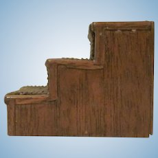 "Vintage 1"" Walnut Stained Wooden and Corduroy Bed Steps for a Dollhouse Bed Dollhouse Accessory"