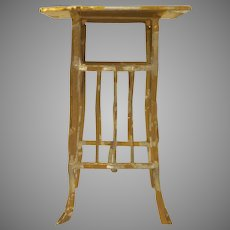 "Vintage 1"" Gilt Soft Metal Plant Stand Dollhouse Furniture"