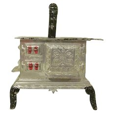 """Vintage Soft Metal 3/4"""" Stove with Pipe and Shelves Dollhouse Furniture"""