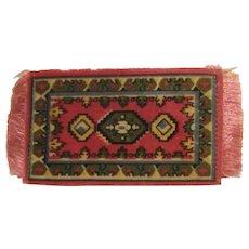 Vintage Tobacco Premium  Dollhouse Rug #6 Dark Red, Olive, Yellow, Black