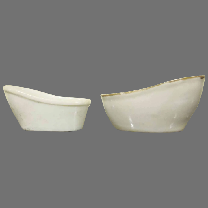 Dollhouse Miniature Large White Ceramic Bowl Trimmed in Gold
