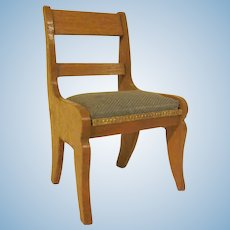 "Vintage 3/4"" Schneegas Golden Oak Side Chair with a Green Cotton Seat and Dresden Trim Dollhouse Furniture"