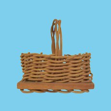 Vintage Mid Century Miniature Basket with a Wooden Bottom for a Dollhouse Accessory