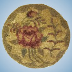 Vintage Hand Made Hooked Rug with a Rose Dollhouse Accessory