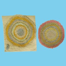 Vintage Pair of Hand Hooked Rugs in Pastels for the Dollhouse Bedroom or Bathroom