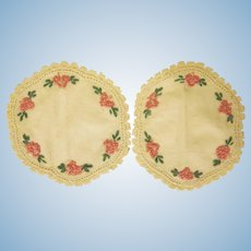 Vintage Pair of Embroidered Dollhouse Rugs with Flowers and Lace Accessory