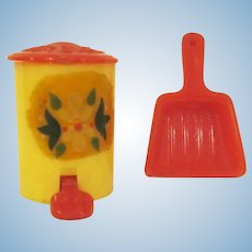 "Renwal 3/4"" No. 64 Yellow Step Up Garbage Can and Red Dust Pan Dollhouse Accessories"