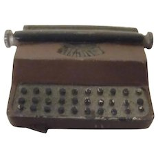 Vintage Heavy Cast Metal Typewriter Miniature Dollhouse Accessory