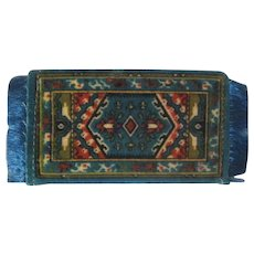 Vintage Tobacco Premium Flannel Dollhouse Rug #7 Blues with Red, Yellow, and Black